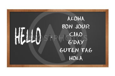 chalkboard with seven ways to say hello