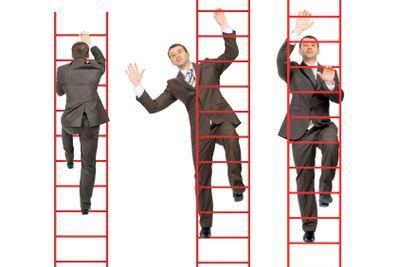 Three businessmen climbing stairs up