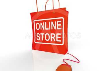 Online Store Bag Shows Shopping and Buying From Internet...