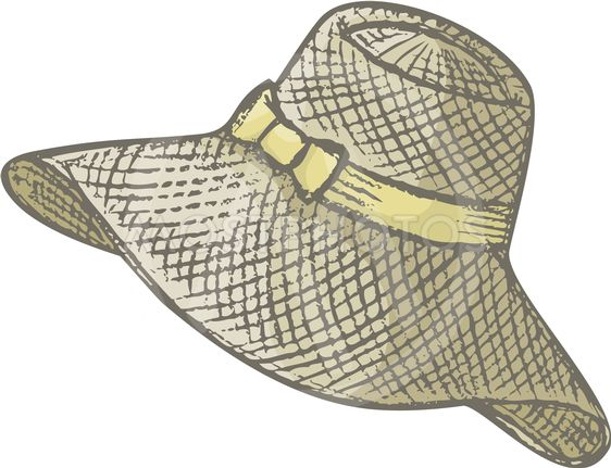 Hand drawn female summer hat