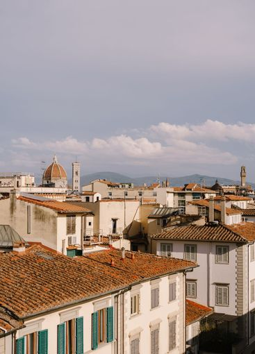 Cityscape view of Florence, Italy, on the dome of the...