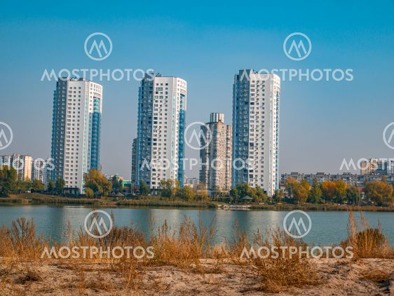 High-rise residential buildings of the city on the lake.