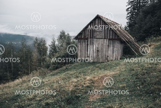 gray wooden house with boards in the Carpathian...