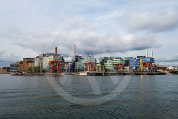 Office buildings by the water in Ruoholahti Helsinki...