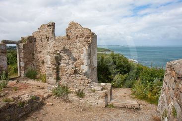 Ruins of old castle along the coast of France