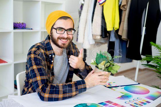Hipster businessman working