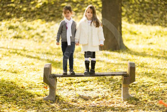 Two little girls at the autumn park