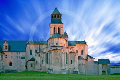 fontevraud abbey church, touraine, france, at twilight