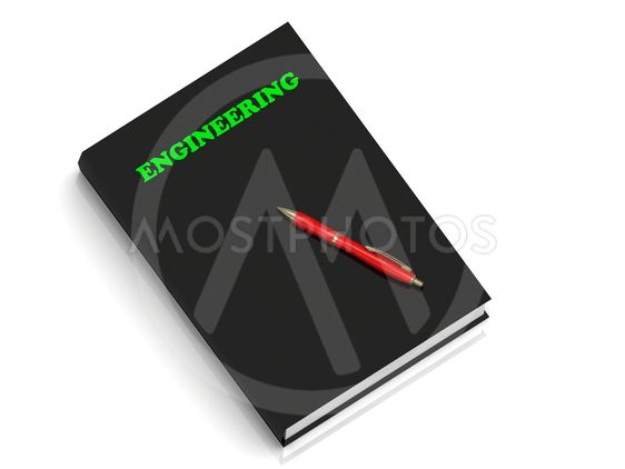 ENGINEERING- inscription of green letters on black book