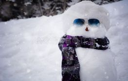 Snowman with a cap and a scarf in winter.