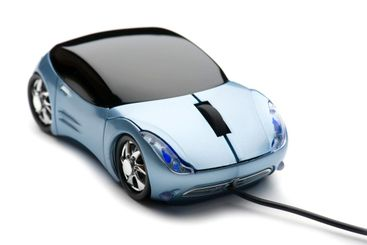 Computer mouse car on white background