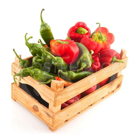 Wooden crate with vegetables