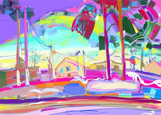 colorful original digital painting of rural winter...