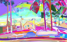 colorful original digital painting of rural winter...