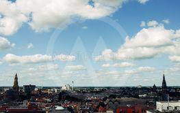 View over historic part of Groningen city under blue sky...