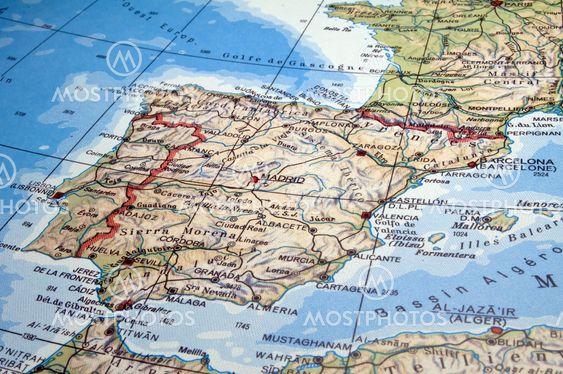 Spanien Og Portugal Kort Fra Fernando Barozza Mostphotos