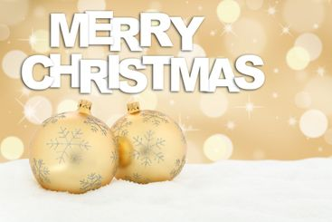 Merry Christmas card golden balls background decoration