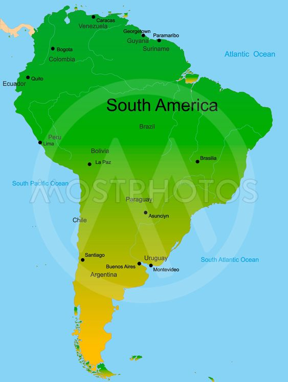 Map Of South America Contin By Olinchuk Mostphotos