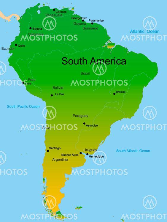 Kort Over Sydamerika Kontin Fra Olinchuk Mostphotos