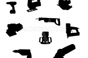 hand-held power tool silhouettes