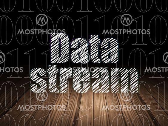 Data concept: Data Stream in grunge dark room