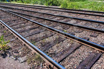 Tre järnvägsspår med grönska i bakgrunden