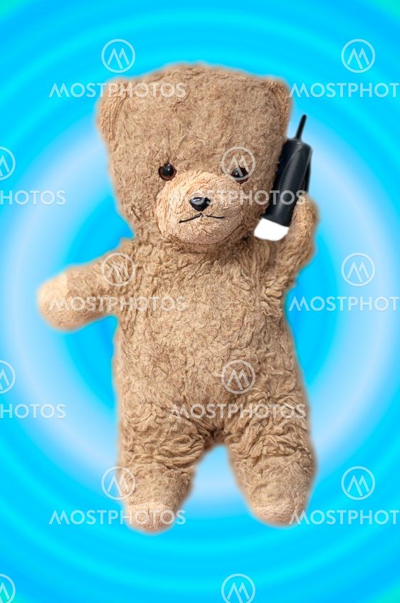 teddy on the phone
