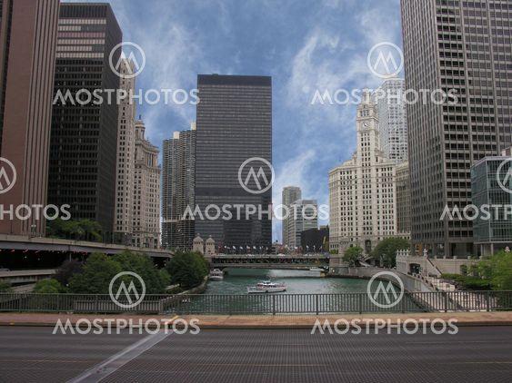 Skyskrapor i Chicago och dess River