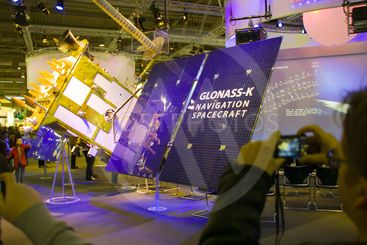HANNOVER, GERMANY - MARCH 5, 2011: stand of the Glonass-K...