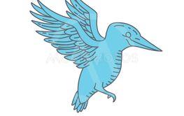 Kingfisher Flying Mono Line
