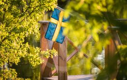 Swedish flag on a floating dock