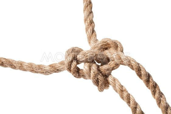 knot of Running bowline loop close up on rope