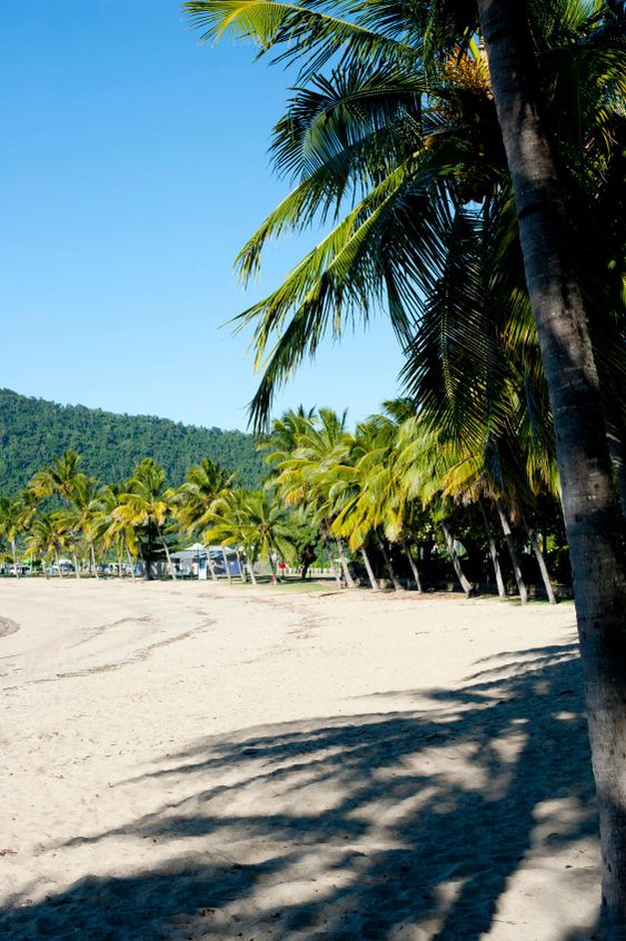 View along a deserted Airlie Beach, Queensland