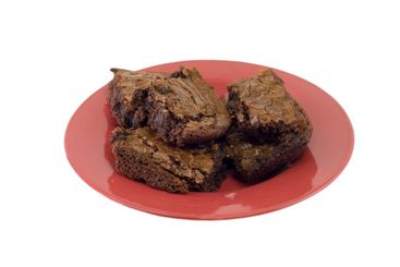 brownies on a red plate