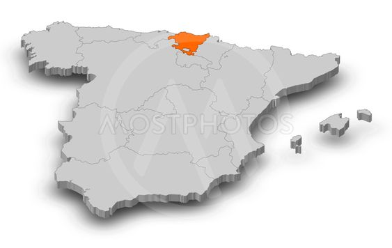 Map - Spain, Basque Country - 3D-Illustration