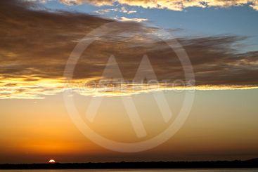 Magnificent orange cloud coastal sunrise view. Australia.