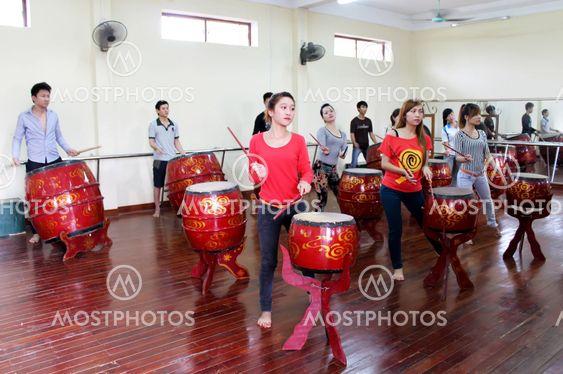 Artists performing drum