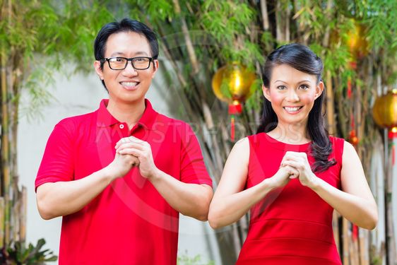 Couple celebrating Chinese new year