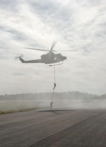 Rappelling from Chopper