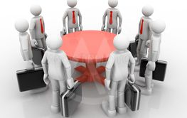 3D businessmen standing  at a round table and having