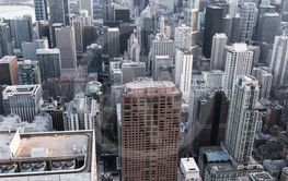 Chicago. Aerial view of Chicago downtown from high...