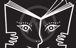 Vektor, illustration, clipart. Bok med ansikte och händer.