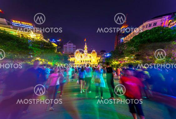 The Illuminated building of City Hall in Ho Chi Minh City
