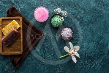 top view of beautiful orchid, handmade soaps and bath...
