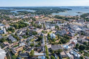 Aerial view of Hamina Old Town in summer in Finland.