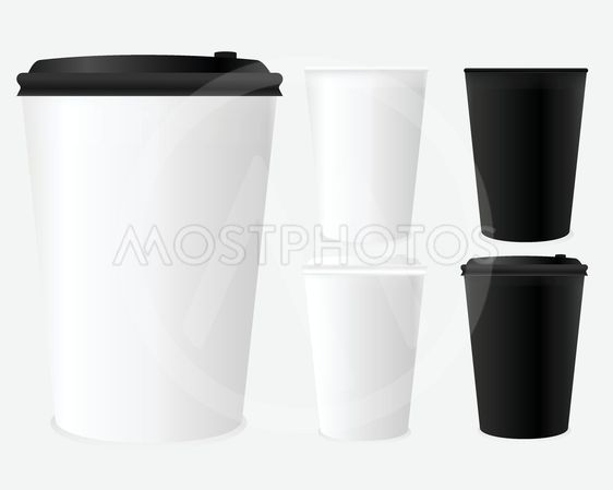 Mockup of coffee cup set.