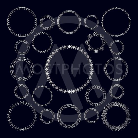 Vector set of round decorative frame. Silver geometric...