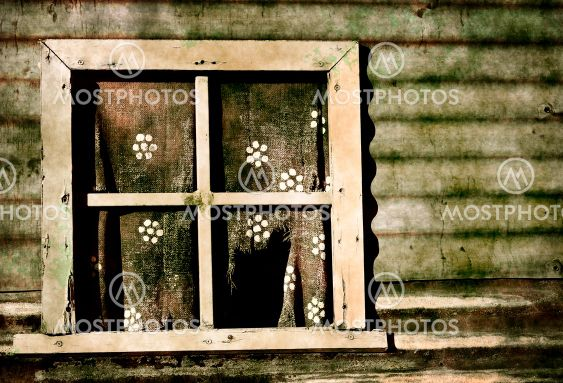 old grunge window