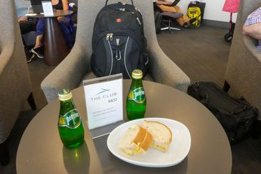 A snack at The Club MCO in Orlando International Airport...