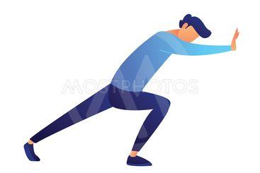 Businessman pushing wall vector illustration.